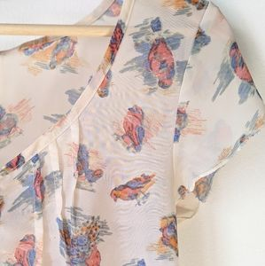 Mimi Chica Blouse, bird print, spring colors